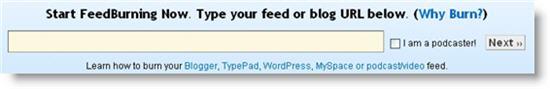 feedburner signup screenshot