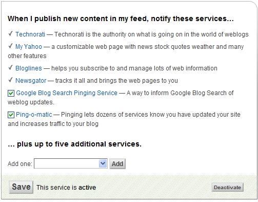 FeedBurner Pingshot services screenshot