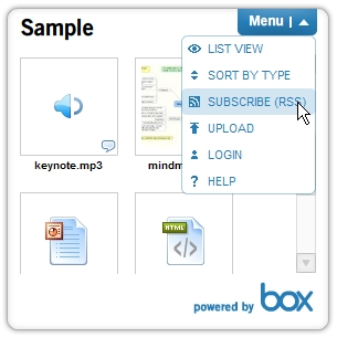 Box.net widget screenshot