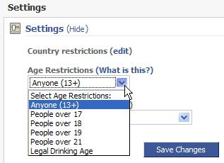screenshot - Age Restriction setting on Facebook Pages