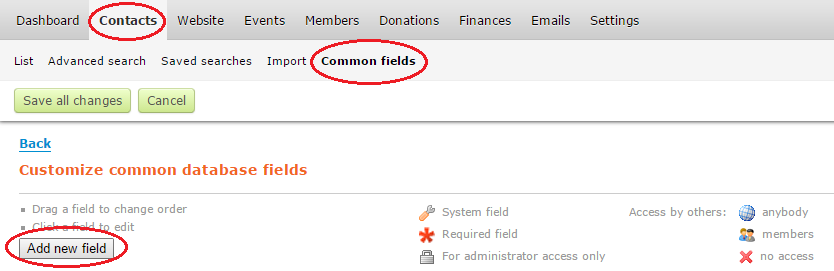 common fields
