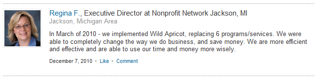 Regina F. - LinkedIn Recommendation for Wild Apricot