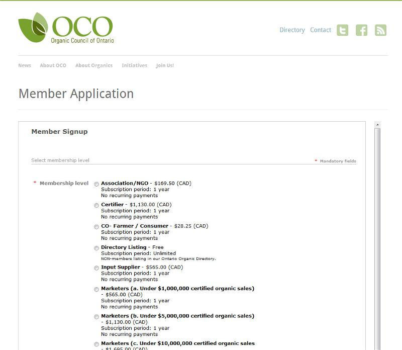Membership Widget - Organic Council of Ontario