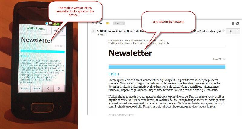 Mobile Newsletter on Mobile Device