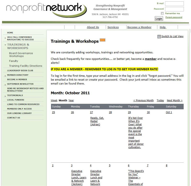 Nonprofit Network Events Calendar
