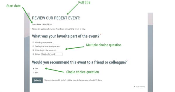 Poll features screenshot