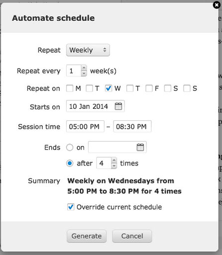 Recurring event scheduling