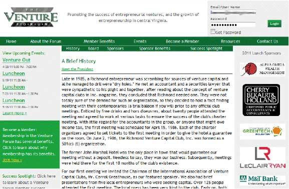 Venture Forum's Old Website